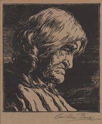 Sa-la-ko, revered elder and wife of Snake Clan Chief Harry Su-pe-la, Shipaluvai, Walpi, Arizona by Carl Oscar Borg 1923 kp