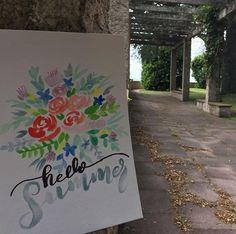 #hellosummer #watercolor #watercolor #brushlettering #handlettering #acuarelas #watercolorflowers #hola #verano