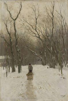 Anton Mauve | Winter in de Scheveningse bosjes, Anton Mauve, 1870 - 1888 | Winter in de Scheveningse bosjes. Over een besneeuwde bospad duwt een man een slede met brandhout.