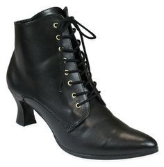Victorian Ladies Black Faux Leather Solid Boots | Dickens | Downton Abbey | Edwardian || Victorian Ankle Boot - Black Faux Leather