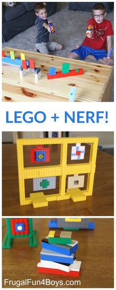 Some LEGO Nerf Targets! Build LEGO Nerf Targets - Fun building challenge for kids!Build LEGO Nerf Targets - Fun building challenge for kids! Kids Crafts, Projects For Kids, Diy Projects, Creative Crafts, Lego For Kids, Diy For Kids, Kids Fun, Games For Boys, Kids Boys