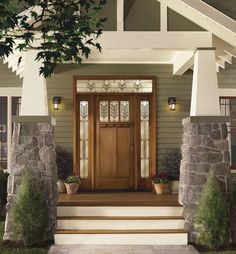 Something as simple as new exterior doors can make a world of difference in the appearance, curb appeal security, and energy efficiency of your home. Add house trim for the finishing touch. Craftsman Exterior, Craftsman Style Homes, Craftsman Bungalows, Exterior Doors, Craftsman Door, Bungalow Exterior, Craftsman Columns, Exterior Paint, Wood Front Doors