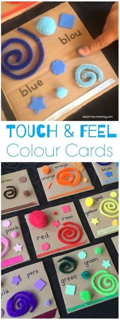 & Feel Colour Cards Touch & feel colours, multi sensory learning for kids!Touch & feel colours, multi sensory learning for kids! Toddler Fun, Toddler Crafts, Toddler Teacher, Toddler Classroom, Infant Activities, Preschool Activities, Colour Activities For Toddlers, Preschool Curriculum, Feelings Preschool