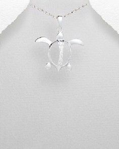 STERLING SILVER NAUTICAL ALOHA FLYING BEACH SEA TURTLE PENDANT NECKLACE
