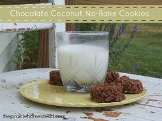 Chocolate Coconut No-Bake Cookies (Dairy-Free). Vegan option: Replace honey with vegan alternative sweeteners agave nectar, maple syrup, ect.