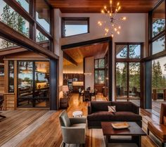 Home Design Modern rustic mountain home - Modern Mountain Homes to Take You Away Mode Modern Lodge, Modern Mountain Home, Mountain Homes, Modern Rustic Homes, Modern Ranch, Modern Cabins, Mountain Home Interiors, Mountain House Decor, Modern Rustic Furniture
