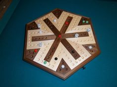 I'm thinking this is just what Jason needs for his birthday... NOSTALGIA!!  Inlaid Wooden Maple and Walnut 6 Player.