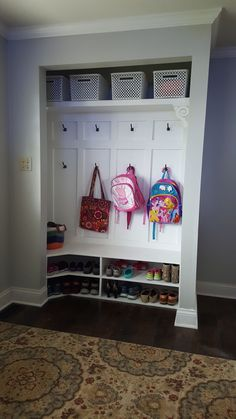 Closet Nook, Closet Redo, Hallway Closet, Closet Remodel, Closet Mudroom, Laundry Closet, Shoe Closet, Closet Ideas, Closet Bench