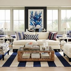 Blue + white decor