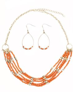 "Beaded Necklace and Earring Set, Orange, 18"" with 2 1/2"" extender, 3 Available, SET $29.00. To buy, visit www.facebook.com/JewelrySistersLLC"