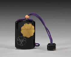 Japanese Lacquered Inro w/ Netsuke, Meiji period : Lot 19