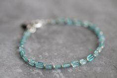 CHRISTMAS SALE Apatite Bracelet, Gemstone Bracelet, Layering Bracelet, Pave Diamond Disc Charm, Beaded Bracelet, Thai Silver, Delicate, Dain