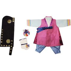 Pieces include: - 1 jacket (저고리) - 1 pants (바지) - 1 hat (복건) - 1 traditional socks (버선) - 1 luck pouch (복주머니) Vest (배자): Pink-purple with dark purple side trim and blue go-reum, Top (저고리): Baby blue w