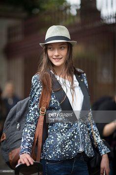 Yumi Lambert during London Fashion Week Spring/Summer 2016/17 on September 21, 2015 in London, England.