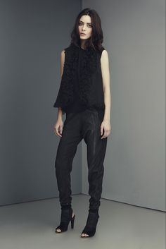 Elie Tahari - Pre-Fall 2015: I love the furry vest with the shimmery trousers -- the pinnacle of simple luxury.