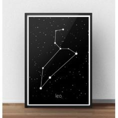 Plakat z gwiazdozbiorem Lwa (Leo)  http://scandiposter.pl/plakaty/150-plakat-ze-znakiem-zodiaku-lew.html