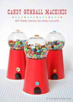 Cute and Easy DIY Candy Gumball Machine Party Favors. Such a cute craft for kids! Sweet gift idea. http://LivingLocurto.com