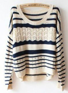 acolline's save of Deep Blue Hollow Loose Striped Sweater For Women on Wanelo