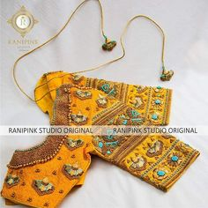 Featuring a saree blouse with zari embroidery highlighting for the sleeve and a exquisite bead neckline. For orders/enquirie 14 February 2019 Wedding Saree Blouse Designs, Pattu Saree Blouse Designs, Silk Saree Blouse Designs, Maggam Work Designs, Sleeve Designs, Zardozi Embroidery, Indian Embroidery, Embroidery Thread, Maggam Works
