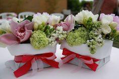 Piccolo sushi flowers in sacchetti di tessuto
