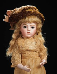 Beautiful French Bisque Brown-Eyed Bebe,Size 3,by Leon Casimir Bru. http://Theriaults.com