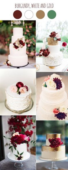 burgundy and white wedding cake ideas for 2017