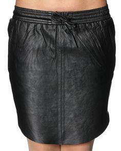 Mega cool Second Female læder nederdel Second Female Shorts & nederdele til Damer i luksus kvalitet