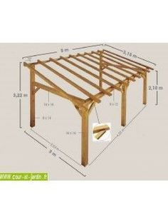 This SHERWOOD wood awning is a wooden carport leaned or . This SHERWOOD wooden awning is a back-to-back wooden carport or wooden terrace shel - Carport Adossé, Carport Kits, Modern Carport, Carport Ideas, Garage Kits, Carport Designs, Pergola Designs, Wood Pergola, Pergola Patio