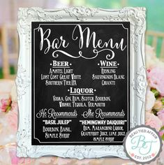 Wedding Chalkboard Sign Bar Menu Personalized by BeauTiedAffair - Braut Wedding Menu Chalkboard, Wedding Signage, Chalkboard Signs, Wedding Bar Menu, Wedding Chalkboards, Wedding Banners, Wedding Foods, Wedding Catering, Wedding Venues