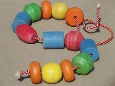 vintage Playskool colored wood beads and string