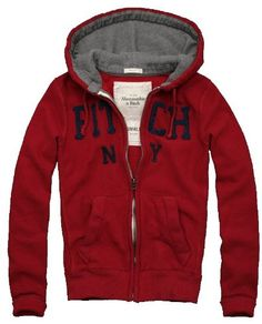 Abercrombie & Fitch Mens Elk Lake Waffle Lined Hoodie, Red
