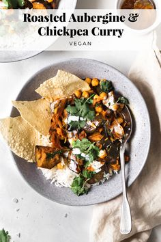 Make this delicious vegan curry with roasted aubergine and chickpeas. Serve as a main alongside rice and poppadoms or as a side with a dhal. Topped with fresh coriander and a drizzle of vegan cream. Ready in 45 mins. Vegan Dinner Recipes, Veggie Recipes, Vegetarian Recipes, Cooking Recipes, Veggie Food, Vegan Dinner Party, Vegan Meals, Free Recipes, Easy Recipes