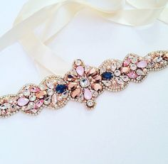 Swarovski Crystal Rose Gold and Blue Crystal Bridal Belt - One of a Kind Hand Stitched Swarovski Crystal Beads, Crystal Rose, Crystal Wedding, Motifs Perler, Wedding Belts, Dress Wedding, Blue Crystals, Bridal Accessories, Beaded Embroidery