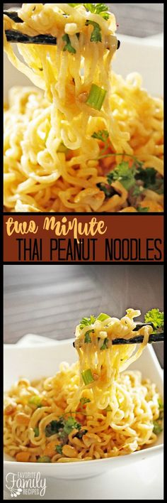 These Two Minute Thai Peanut Noodles were made on a regular basis in college. The perfect way to upgrade ramen noodles to a tasty dinner on a budget. via @favfamilyrecipz