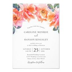 Elegant Blush Pink Roses Watercolor Floral Wedding Invitations Modern Template. Classy and beautiful, feature beautiful watercolor pink roses and green leaves on white background. Great for inviting your guests to your wedding celebration. Great for all wedding parties, garden, tropical, beach, destination, country, rustic, vintage, summer, fall, winter and spring! On the back you can choose between two optional backgrounds or use any solid background color you like! Wedding Parties, Wedding Dj, Wedding Cards, Summer Wedding, Rustic Wedding, Dream Wedding, Wedding Dress, Blush Wedding Invitations, Elegant Wedding Invitations