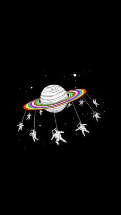 Space Astronauts Go Round Planet Android Wallpaper