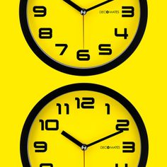 Adorn any room with this Color Block Non-Ticking Silent Wall Clock from DecoMates. #yellow #silentclock #bumblebee #bright #colorful #design #home #kitchen #summer #spring