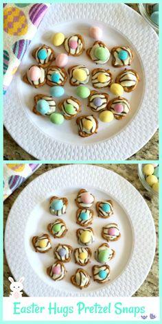 Easter Hugs Pretzel Snaps - Easiest Recipe Ever! Candy Recipes, Sweet Recipes, Dessert Recipes, Easter Appetizers, Appetizer Recipes, Easy Desserts, Delicious Desserts, Awesome Desserts, Easter Dinner