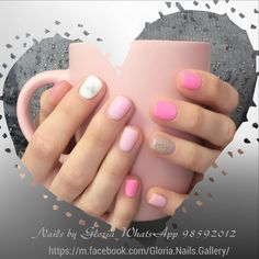Bright Pink Heart Design And Glitter Nails Manicure Pinknails Sparkle Nail ManicureGel