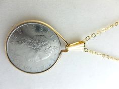 Italian 50 Lire Coin Pendant Gold Filled Bezel Link Chain Necklace | dianesdangles - Jewelry on ArtFire