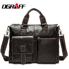 b92205b67228  Visit to Buy  OGRAFF Genuine Leather Bag Men Handbag Designer Briefcase  Men Messenger Bag Men Leather Shoulder Bag 2017 Handbag Male Bag