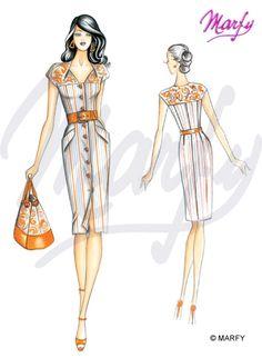 Marfy printemps-été 2012 Dress Illustration, Fashion Illustration Sketches, Fashion Sketchbook, Fashion Design Sketches, Cc Fashion, 1960s Fashion, Fashion Details, Fashion Outfits, Wedding Dress Patterns