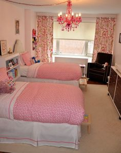 Shared Girls Room in Pink - #sharedroom #pinkroom #kidsroom