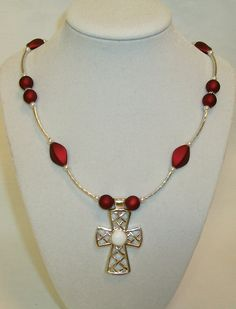 Cross necklace w/red velvet beads, liquid silver tubes & white pearls...