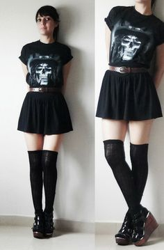 Slashs Skull Tshirt, Brown Leather Belt, Cotton Skirt, Thigh High Socks, Buckle Wooden Platforms