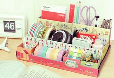 Pastel Stationary Tape Scissors, Pencil, Pen, Ruler, Calender. I NEED TO MAKE THIS!!! With kawaii accents, of course :)