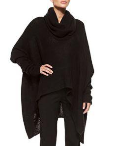 B2PXN Donna Karan Knit Cowl-Neck Poncho Cappuccio Maglia ea17a7c63792