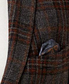 Tallia Men's Big & Tall Slim-Fit Gray/Orange Plaid Soft Sport Coat - Gray 54XL