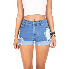 VIBRANT Destroyed Classics High Waist Shorts ($40) ❤ liked on Polyvore featuring shorts, short, high-waisted denim shorts, short shorts, short jean shorts, jean shorts and high waisted ripped shorts