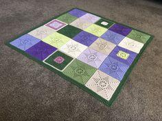 Cotton green purple blanket crochet. http://www.ravelry.com/projects/cuddlycritter/flower-compass